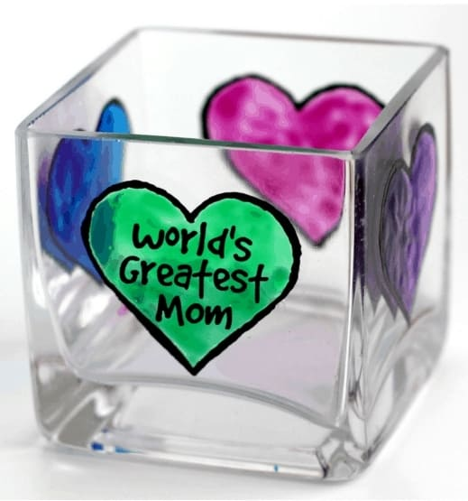 Easy DIY Glass Votive Mothers Day craft kids can make. A great Home Decor gift idea you can do for Mom's, GrandMa, or Grauntie on a budget.