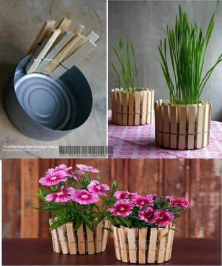 Easy DIY Mother's Day gift tuna can flower pot clothespin