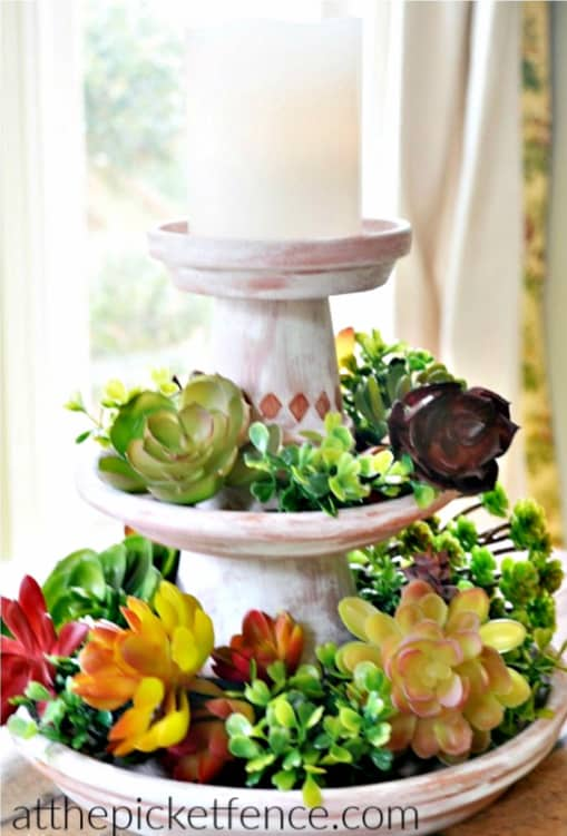 DIY clay pot tiered display candle centerpiece craft cheap Mother's Day gift
