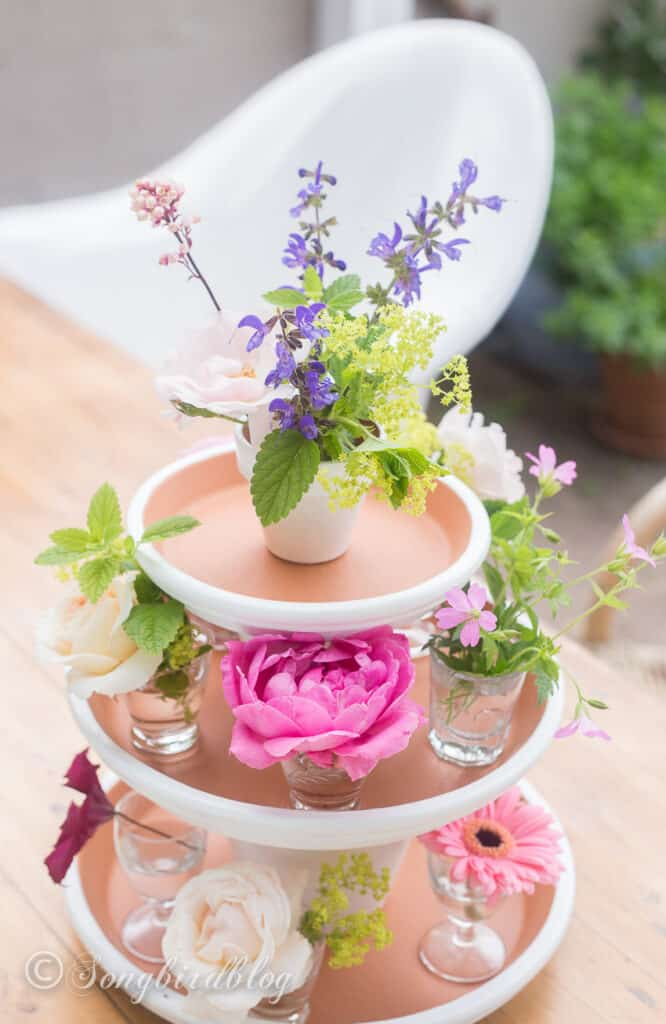Easy clay pot tiered centerpiece display DIY Mother's Day gift idea for spring