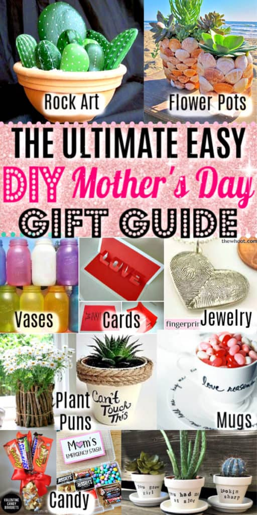 Pinterest Pin for Easy DIY Mother's Day craft gifts kids can make. Great budget mother's day cards, gifts, and kids crafts ideas for the home and garden.