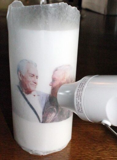 Easy DIY Mother's Day gift- transferring a photo on a candle