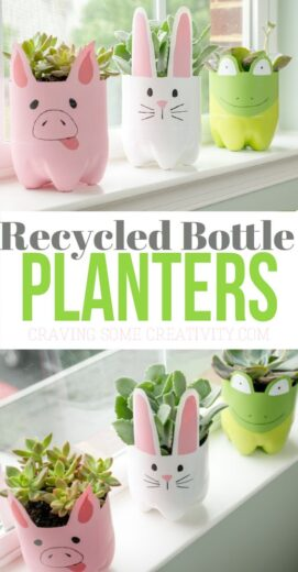 Easy DIY Recycled Bottle Planters Mothers Day crafts kids can make. A great Summer garden gift idea you can do for Mom's, GrandMother, or Grauntie on a budget.