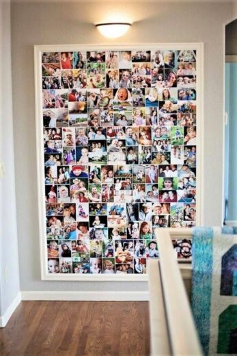 Easy DIY Mother's Day gift photo collage for wall. Perfect heartfelt gift for mom.