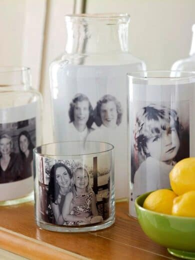 Easy DIY budget Mother's Day gift idea using photos for gift basket