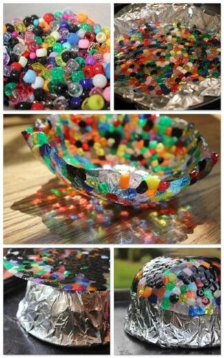 Easy DIY Sun Catching bowl Made of Beads Kids can make for Mothers Day. A unique gift basket idea all of the kids can pitch in for