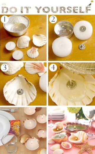 Easy DIY Seashell Tealight Candle Mothers Day craft kids can make. A great Nautical Home Decor gift idea you can do for Mom's, for GrandMother, or Grauntie on a budget.