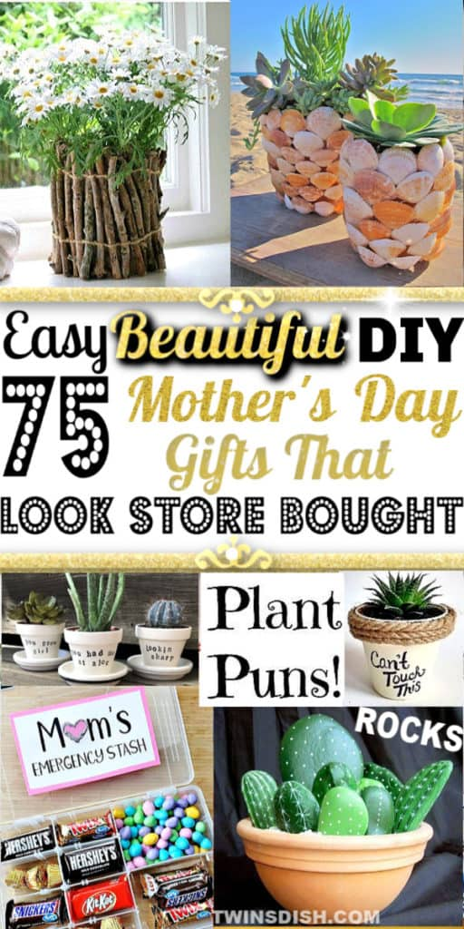 Easy DIY Mother's Day craft gifts kids can make. Great budget mother's day cards, gifts, and kids crafts ideas for the home and garden. #GiftIdeas #FarmHouseDecor