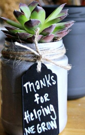 Mother's Day DIY mason jar succulent planter gift idea for Mom