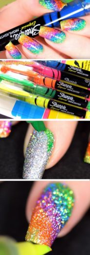 Rainbow nails made with Sharpie Highlighters and glitter nailpolish, great nail art, easy nail hack, unicorn nails nail design