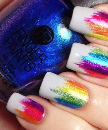 Use different color highlighters over glitter nailpolish to do this nail art hack, great for unicorn nails, rainbow nails, back to school, St Pattys Day, easy DIY Nail Design ideas