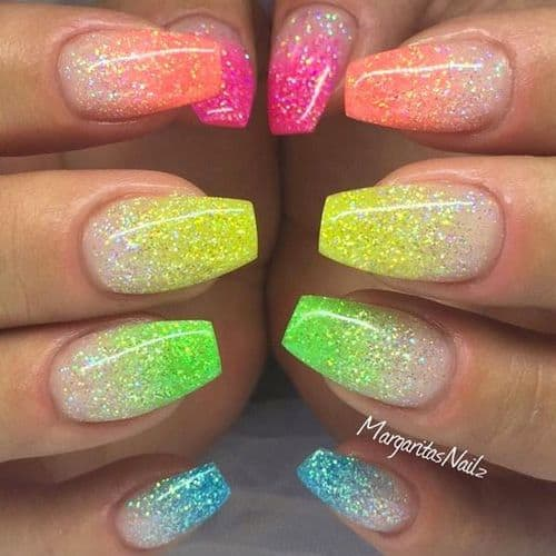 Use Sharpie Highlighters over glitter nail polish to create this look in minutes, the best nail polish hack for nail art, great for easter nails, back to school, unicorn nails nail design