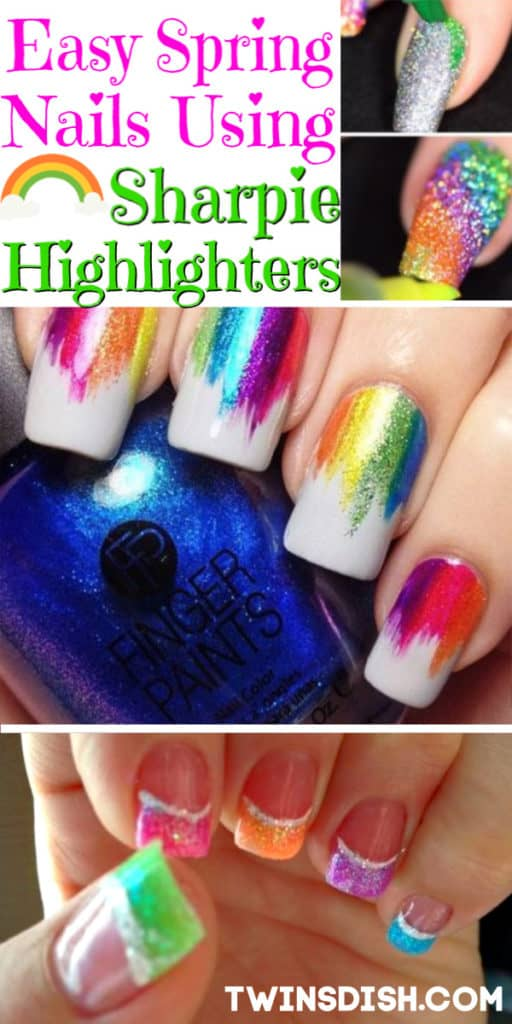 Easy Spring nails 2019 using Sharpie highlighters