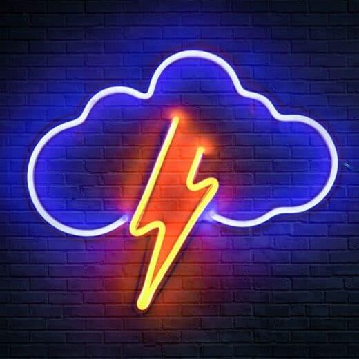 Neon Sign Lightening Bolt Cloud