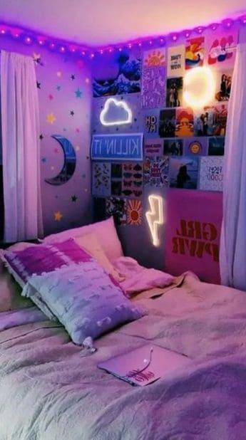 Teen bedroom and dorm room decor mood room lighting