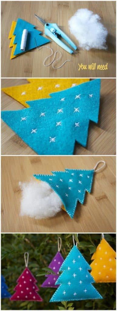Easy DIY Felt Christmas Tree Ornament craft and gift idea.