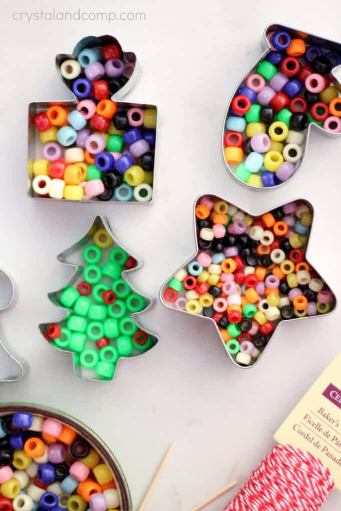 Easy DIY Kids Beads Christmas Ornament craft and gift.