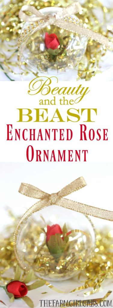 Easy DIY Beauty and the Beast Enchanted Rose Ornament Christmas craft and gift idea.