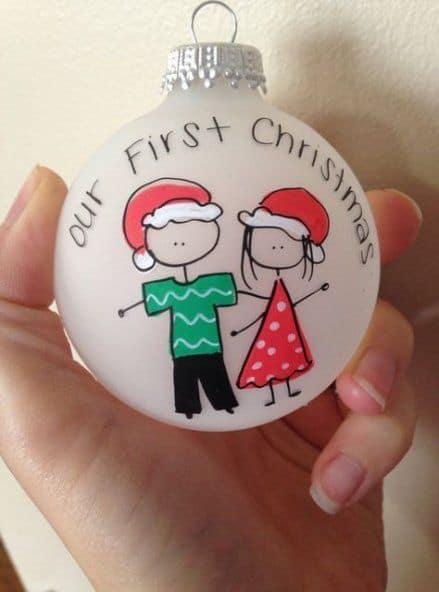 Easy DIY Christmas Ornament for Boyfriend. Easy Christmas craft gift idea for men using dollar store items.