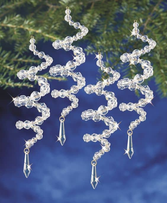 Easy Diy Crystal Bead Spiral Ornament craft and gift idea.