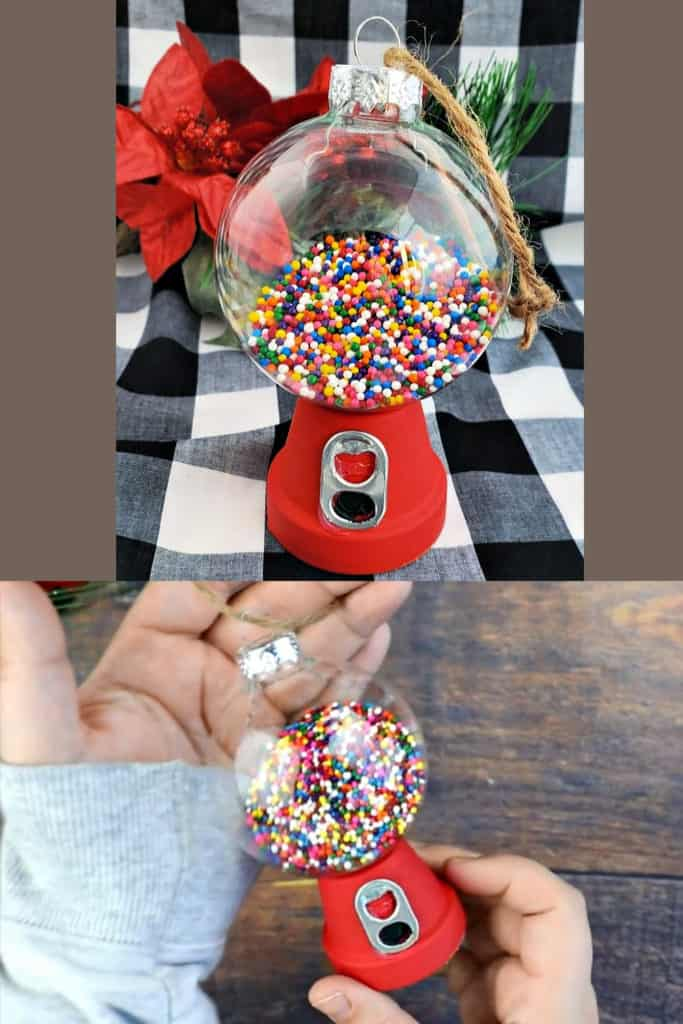 DIY Gumball Machine ornaments. Easy Christmas crafts or gift idea for kids to make. Cute Cheap Christmas tree idea and decorations for adults using dollar store items.