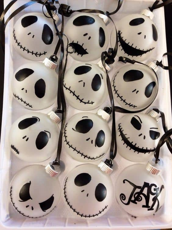 Easy DIY Nightmare Before Christmas Decorations That Will Look Store Bought. Replicate these Etsy ornaments yourself using a sharpie or cricut machine.