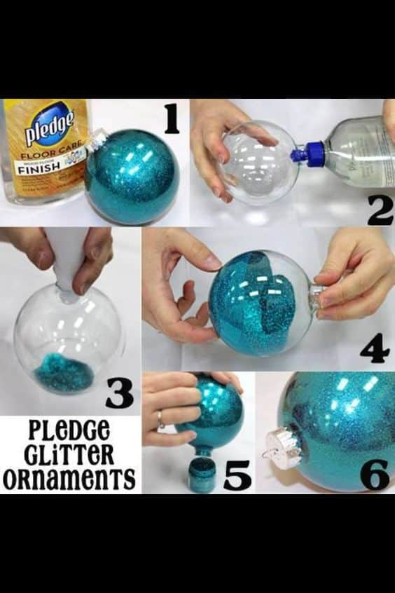 Easy DIY Glitter Ornaments using Pledge that looks store bought. Easy to customize, makes a great gift.