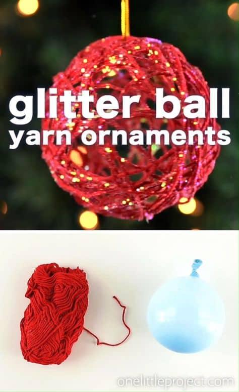 DIY Farmhouse Glam Glitter ball yarn ornament