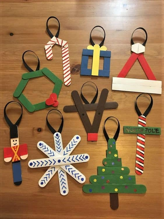 Easy DIY Popsicle Christmas Ornaments. Simple yet beautiful dollar store craft gift idea anyone can make, even kids,