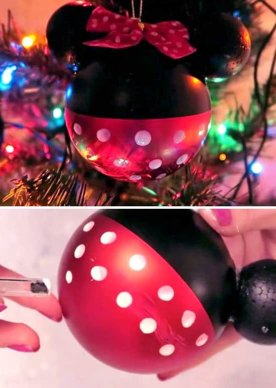 Easy DIY Minnie Mouse Disney Ornament That Looks Store Bought. Perfect for a gift or to keep for yourself. Can be easily customized.