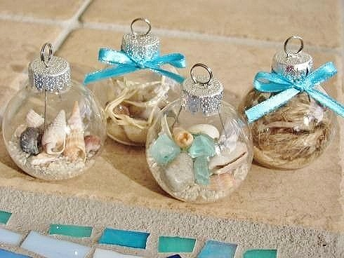 Easy DIY Glass Ball, Beach, Ornament for a beach themed tree or Christmas decor. This is perfect for weddings, kids, Christmas ornaments for an apartment, a friends gift, teachers gift and craft.