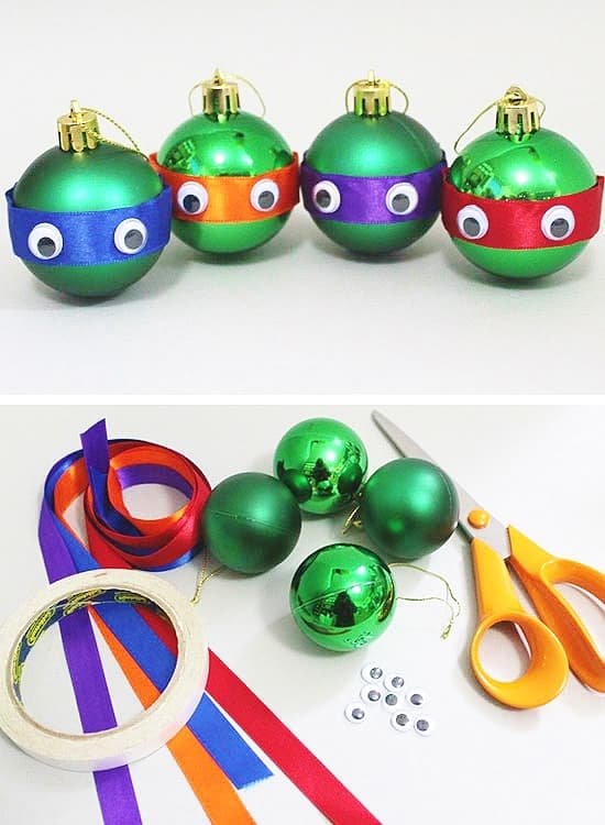 Easy DIY Ninja Turtles Ornaments that look store bought. Make great gifts.
