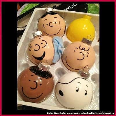 Easy DIY Ornaments kids can make for the peanuts gang using sharpies and paint.