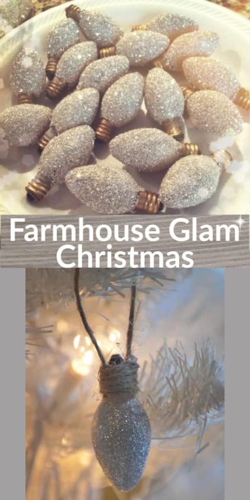Easy DIY Farmhouse Rustic Glam Glitter Bulb Christmas Ornament That Looks Store Bought. Farmhouse Christmas tree idea and Rustic Christmas decor or gift idea.