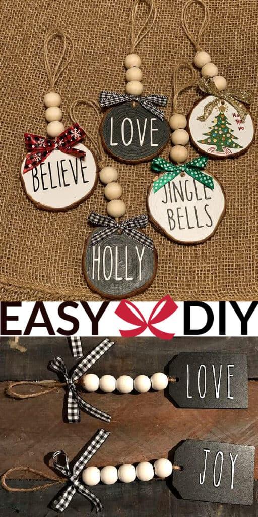 DIY Wood Bead Tree Ornaments