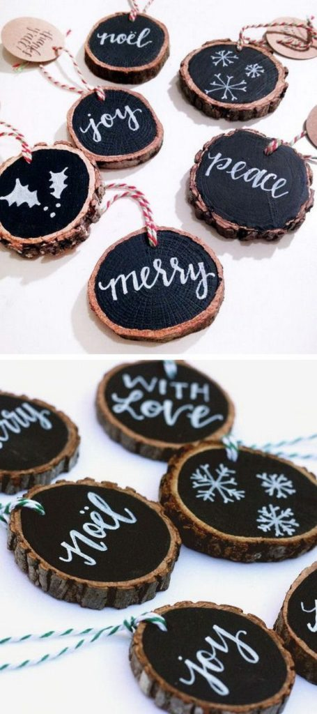 Easy DIY Rustic Tree Slice Christmas Ornaments craft, and gift idea. Beautiful Christmas Decoration, gift idea, or gift tag! Great for kids, teens, friends, teachers, and parties.