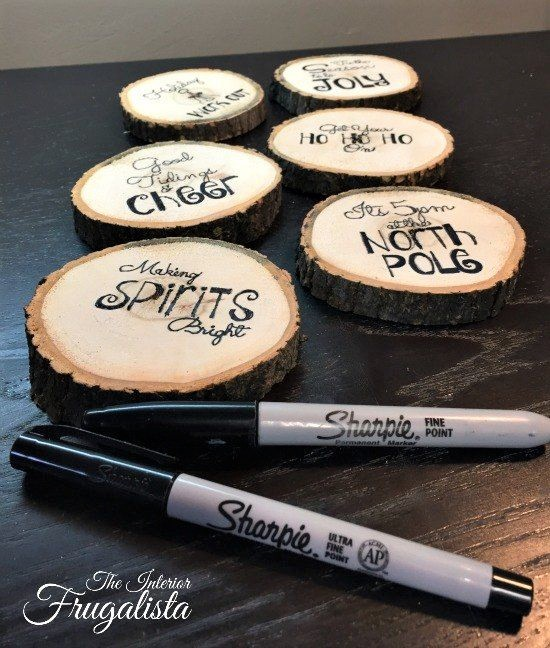 Easy DIY Rustic Tree Slice Christmas Ornaments, craft, and gift idea. Beautiful Christmas Decoration, coaster, gift idea, gift tag! Great for kids, teens, friends, teachers, and parties.