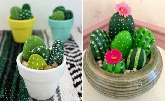 DIY Painted Cactus Rock Garden/ Super easy DIY Valentine's day gifts.