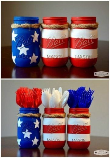 DIY painted flag Mason jar craft. Easy DIY 4th of July party ideas for Food and decorations.