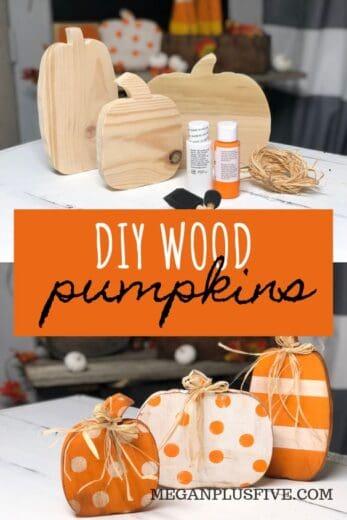 Table top Wood Pumpkin Dollar Store Fall Craft