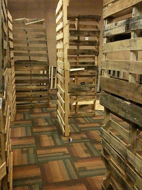 Fake Pallet Wood Walls for Halloween Party