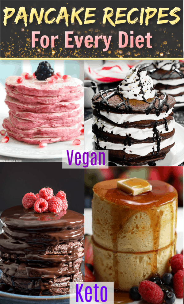 Easy Pancake Recipes for every diet including Low Carb, Keto, Vegan and Paleo. From healthy to savory and decadent chocolate, these unique pancakes make a great addition to your breakfast recipes collection