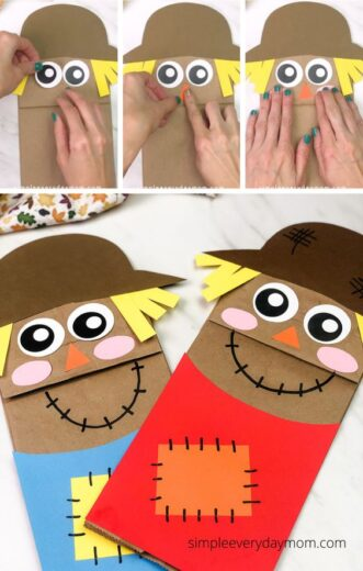 Paper Bag Scare crow Puppet Fall Kids Craft