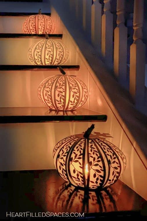 DIY Paper Pumpkins Lanterns Thanksgiving Craft