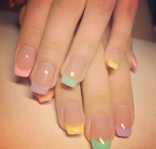 Easy French Pastel Nail Design Idea for Easter, Spring, and Summer nails. So cute.