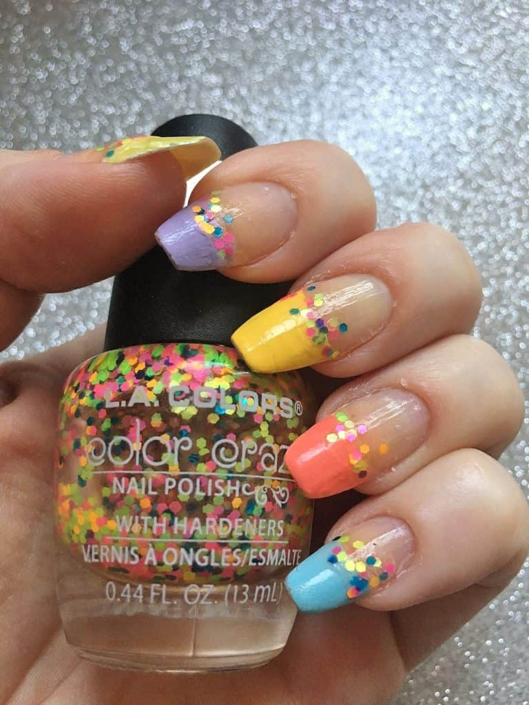 Easy French Pastel Nail Design Idea with confetti for Easter, Spring, and Summer nails. So cute.