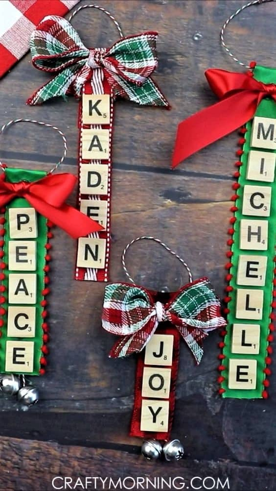 DIY personalized Wooden Scrabble Christmas Ornament