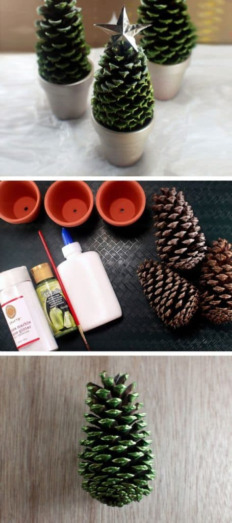 Easy DIY Pincone Christmas Tree Flower Pot Craft