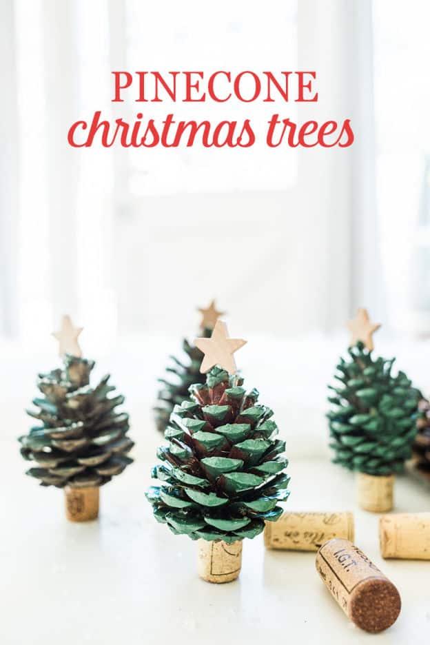 Easy DIY Pinecone Christmas Trees Craft