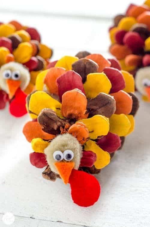 Pinecone Turkey Thanksgiving Kids Craft
